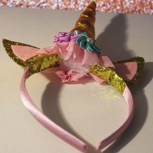 Sparkly Unicorn Headband | Gold and Pink